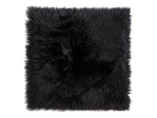 Black  Sheepskin Chair Seat Cover 17x17 Black