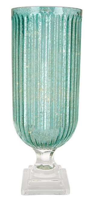 Illuminated Ribbed Mercury Glass Hurricane by Valerie   Aqua