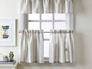 McKenzie Woven Striped Tier Panel Curtains   set of 2