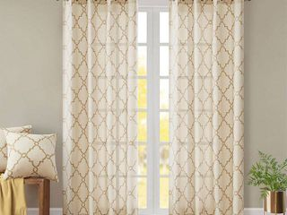 Home Essence Sereno Fretwork Print Window Curtain   set of 2