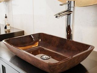 DAMAGED OPEN BOX VIGO Russet 18 inch Rectangular Glass Vessel Bathroom Sink Retail 99 99