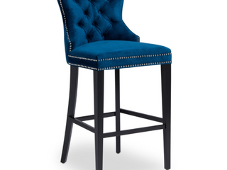 As Is   Abbyson Versailles 30 inch Navy Blue Tufted Bar Stool  Retail 316 99