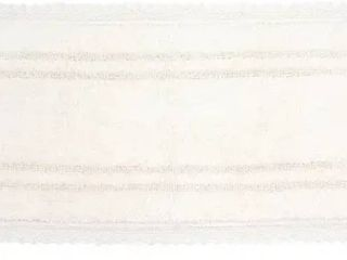 Opulent Bathmat Collection   Absorbent Cotton Soft Reversible Bath Rug  Machine Washable   21 x54    Ivory