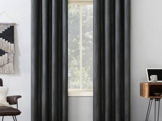 96 x52  Beck Geometric Ogee Thermal Extreme Blackout Grommet Top Curtain Panel Black   Sun Zero set of 2