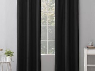 84 x40  Cyrus Thermal 100  Blackout Grommet Top Curtain Panel Black   Sun Zero Set of 2