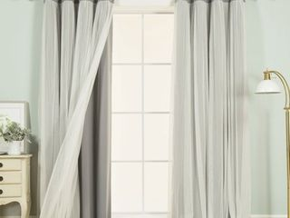 Best Home Fashion Marry Me Blackout Grommet Curtain Panel Pair with Tulle Overlay