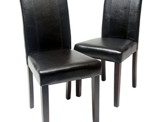 Roundhill Urban Style Solid Wood leatherette Padded Parson Chair  Black  Set of 2