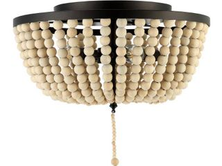 JONATHAN Y Allison 15 in  Oil Rubbed Bronze Cream Wood Beaded Metal lED Flush Mount