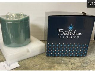 Bethlehem lights Triple light 3 Wick Flameless Pillar Candle 1 Touch Dusty Teal