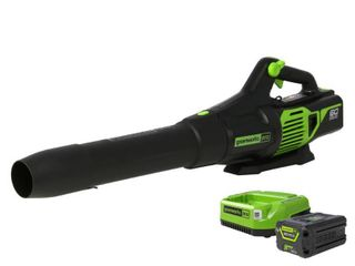 Greenworks PRO 130 MPH 610 CFM 60 Volt Battery Cordless Hand Held leaf Blower with 2 5 Ah Battery and Charger Bl60l251