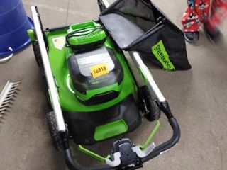 green works lawn mower dual battery port with charger only and bag