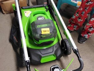 green works pro lawn mower 60 volts dual battery port no battery no charger and bag