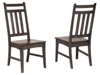 Kitchen Dinette Wood Slatback Dining Side Chairs   Set of 2