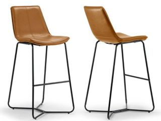 Amery Iron Frame Vintage Cappuccino Faux leather Bar Stool  Set of 2  Retail 195 99