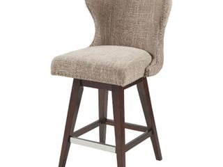 Madison Park Irvine High Wingback Button Tufted Upholstered 27 Inch Swivel Counter Bar Stool with Nailhead Accent   Retail 242 54
