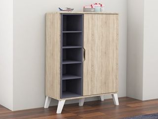 Mid Century Oak and Grey Wood Storage Cabinet by Baxton Studio Retail 166 49 SEE PHOTOS