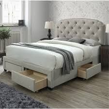 Copper Grove Pogradec Tufted Storage Bed w  Drawers   Queen  Incomplete