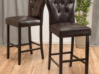 Donner Bonded leather Barstools by Christopher Knight Home   Set of 2