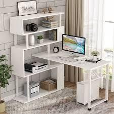 l Shaped Rotating Computer Desk w  5 Shelves