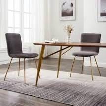 leon Modern Velvet Fabric Dining Chairs   Set of 2