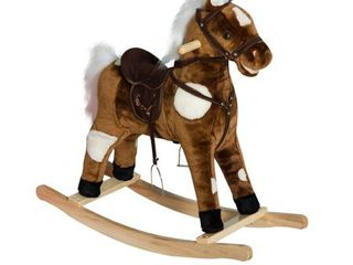 Kids Plush Toy Rocking Horse Ride on Toy w  Realistic Sounds