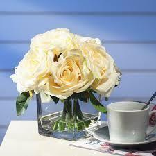Enova Home Silk Open Rose Flower Arrangement in Cube Glass Vase