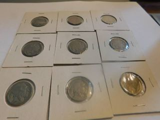 Nine  9  Indian Head Nickels