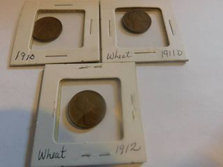 Three  3  lincoln Wheat Penny s