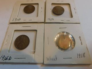 Four  4  lincoln Wheat Penny s