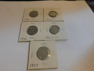 Five  5  Indian Head Nickel s