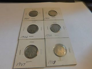 Six  6  Indian Head Nickel s