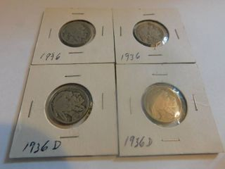 Four  4  Indian Head Nickels