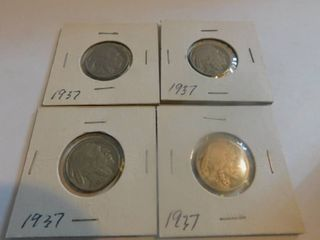 Four  4  Indian Head Nickels   1937 Mint