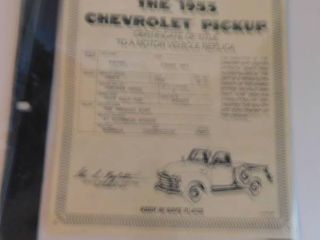 Truck Title   Scale Model Chevy Pickup