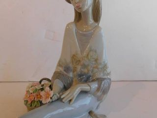 lladro   Young lady with Flower Basket  Retired Figurine