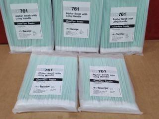lot of 5   TX 761 Alpha Swab with long Handle 100 Swabs Bag