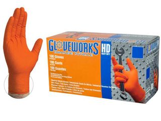 Gloveworks Heavy Duty Nitrile latex Free Industrial Disposable Gloves  XX large  Orange  100 Box