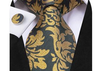 Hi Tie Gold Gray Decorative Tie   Mens