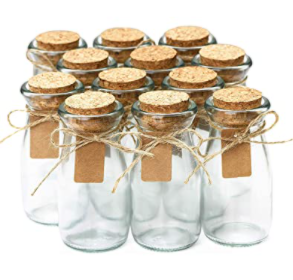 Set of 12   Small Apothecary Bottles with Cork lids