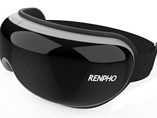 RENPHO Eye Massager with Heat  Compression Bluetooth Music Rechargeable Eye Therapy Massager for Relieve Eye Strain Dark Circles Eye Bags Dry Eye Improve Sleep  Black