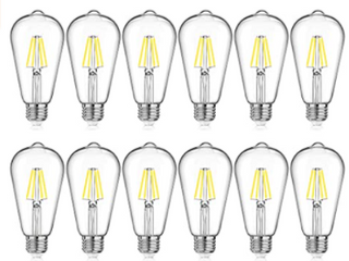 4W 5000K Dimmable ST46 lED Filament Bulbs  12pack lED 4WDST64 5000K 12