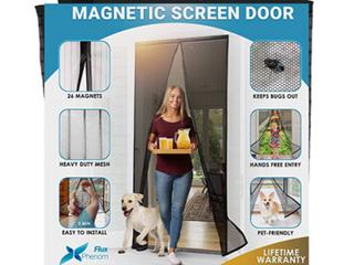 Flux Phenom Reinforced Magnetic Screen Door   Fits up to 38in x 82in Doorway