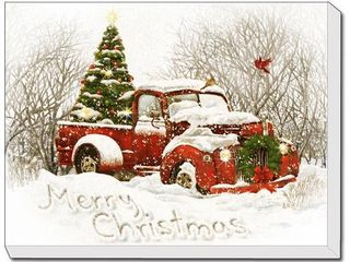 Vintage Christmas Tree Truck 20 x 16