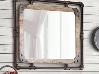 Furniture of America Revo Industrial 31 inch Metal Wall Mirror   Retail 154 00