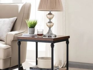 Veneer Wood   Oak  Covington Side Table with USB Charging Station  Retail 138 49