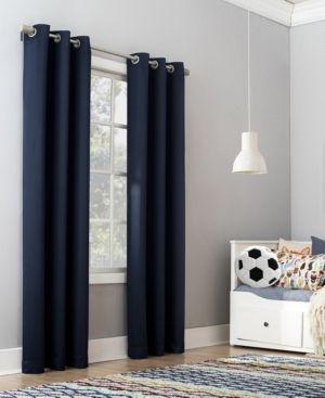 Riley Kids Bedroom Blackout Grommet Top Curtain Panel Pair Navy   Sun Zero