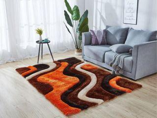 Mateos Collection Geometric Orange Brown Area Rug Retail  177 99