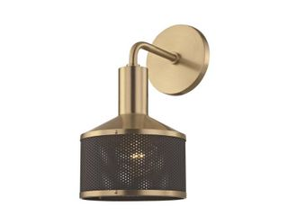 Mitzi by Hudson Valley Yoko 1 light Aged Brass Wall Sconce with Black Accents  Retail 146 00