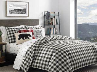 King 3 Piece Eddie Bauer Black White Mountain Plaid Comforter Set Retail  119 49