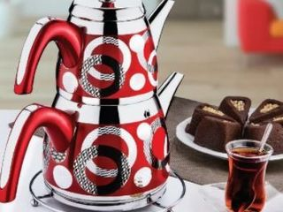 DiscountWorld Azalea Stainless Steel  Turkish Teapot for 6 people  4 75 qt